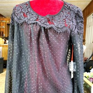 NWT Elle Sheer Blouse with Lace Neckline